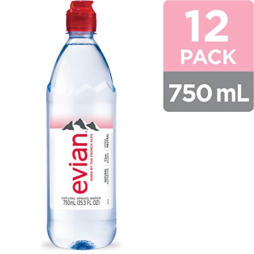 evian Natural Spring Water, 750 ml (25.36 fluid ounce) Water Bottle with Sports Cap, 12 Pack