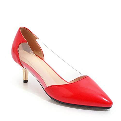 liangxie Femme Pvc Ai Bureau Talons Brevet Sandales Printemps En Peu Ya Hauts Transparent Profondes Chaussures Red Femmes Pu 5qSOzcqFWr