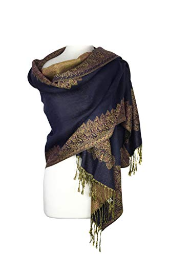 - Paskmlna Border Pattern Double Layered Reversible Woven Pashmina Shawl Scarf Wrap Stole (#04navy blue)