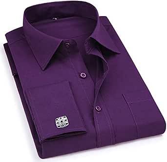 Hombres Francés Cufflinks Camisa Hombres Rayas Camisa Manga ...