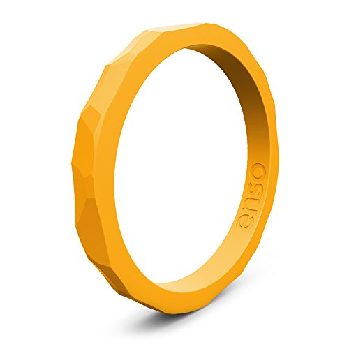 Enso Silicone Ring/Wedding Band. Hammered Design for Men and Women Color: Torch. Size: 10