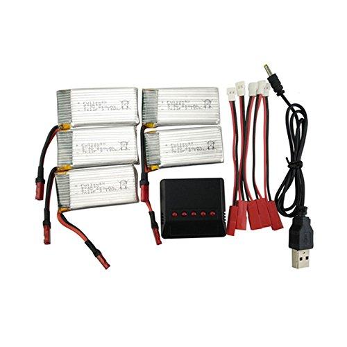 Ocamo Batería de Litio 5PCS,3.7V 850mah con 5-en-1 Cargador para ...