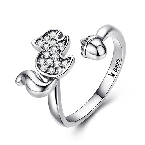 BAMOER 925 Sterling Silver Valentine's Day Gifts Sparkling CZ Stones Squirrel and Acorn Cute Ring for Women Teen Girls