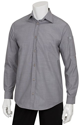 Chef Works Men's Chambray Shirt (SLMCH005) (Sleeve Shop Apparel Long Horns)