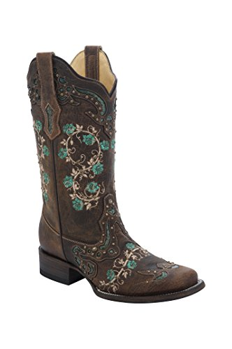 CORRAL Womens Floral Embroidery & Studs Square Toe Cowboy Boots,Brown,9 B(M) US