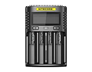 Nitecore UM4 USB Cargador Inteligente de 4 Ranuras para Li-Ion/Ni-MH/Ni-CD/IMR Carga rápida Baterías 26650 22650 21700 20700 18650 18490 18350 17670 ...
