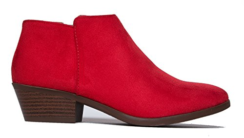 Western Ankle Boot Cowgirl Niedriger Absatz Geschlossene Zehe Casual Bootie Roter Micro Suede