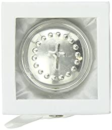 Mud Pie Baby Classic Keepsakes Silver-Plate Round Box, Cross