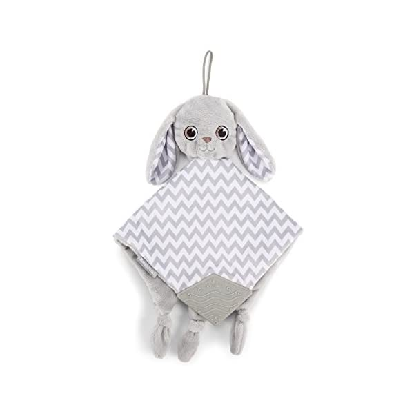 BooginHead Baby Newborn PaciPal Teether Blanket Pacifier Holder Bunny, Gray/White
