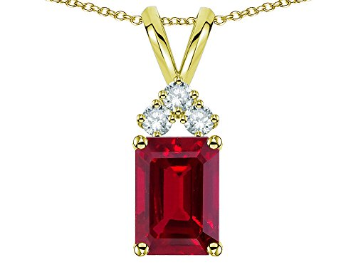 - Star K Classic Emerald Octagon Cut 8x6mm Created Ruby Rabbit Ear Pendant Necklace 14 kt Yellow Gold