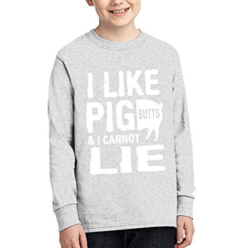 Jmgbsd Boy's I Like Pig Butts and I Cannot Lie Fashion Sweatshirts XL Gray]()