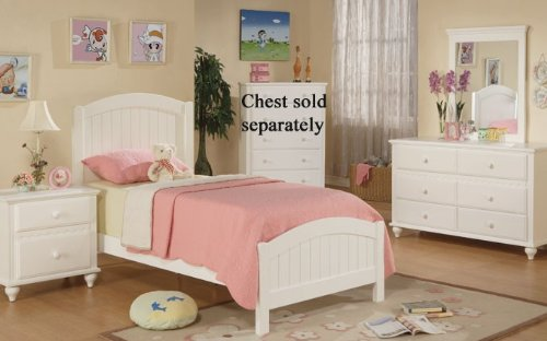 4pc twin size bedroom set cape cod style in white finish
