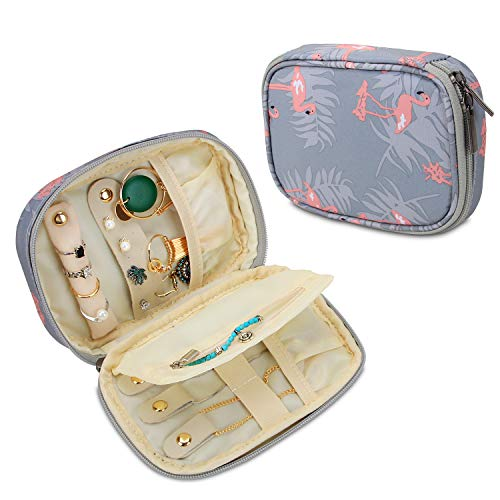 Teamoy Small Jewelry Travel Case, Portable Jewelry Organizer Bag for Earrings, Necklace, Rings and More, Small, Flamingo-(Bag Only)