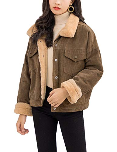 (Gihuo Women's Vintage Corduroy Sherpa Fleece Lined Jacket Thickened Warm Quilted Jacket (Dark Khaki, Large))