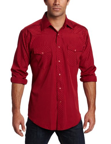 - Wrangler Men's Tall Sport Western Snap Shirt Dobby Stripe, Wine, X-Large Tall