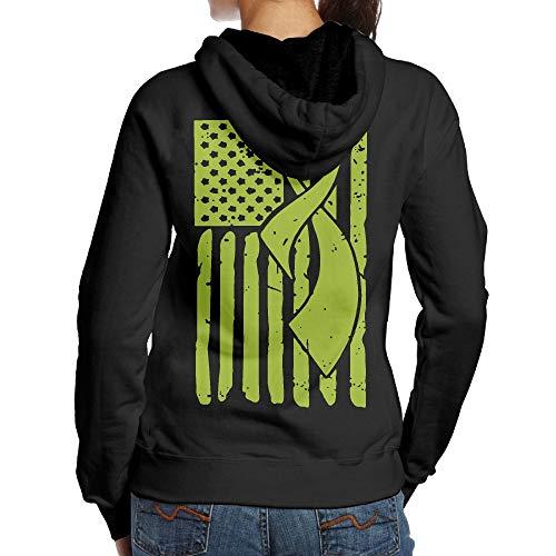 BMWEITIHB Lymphoma Awareness Ribbon American Flag Womens Hooded Sweatshirts (Back Print)