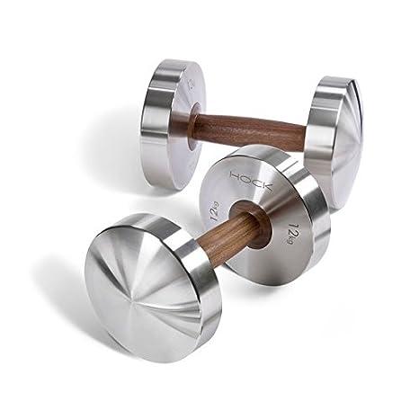 Mancuernas Hock Disco de lujo par 12 kg - Cadena de acero inoxidable/nogal mancuernas para tus Fitness. Pesas par fabricado en Alemania.
