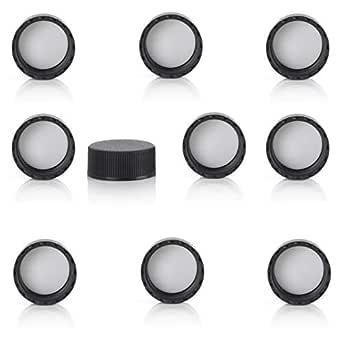 24-400, Black, 100 Magnakoys Black 24-400 Continuous Thread Closure Caps for Vials