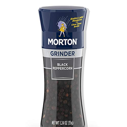 Morton Black Peppercorn Grinder, For Use while Cooking or at the Table, 1.24 OZ Grinder (Pack of 6)
