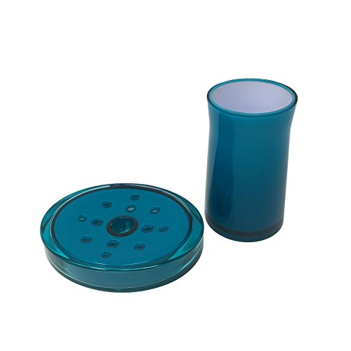 PLAIN CLEAR TEAL BLUE WHITE OVAL BATHROOM SOAP DISH & ROUND TOOTHBRUSH TUMBLER -