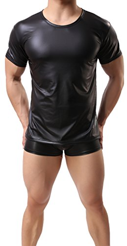 ONEFIT Men's Shiny Faux Leather Tight T-shirts Milk Silk Tank Top Black M (Silk Shirt Top)