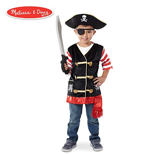 Pirate Dress Up For Boys (Melissa & Doug Pirate Role Play Costume Set, Pretend Play, Materials, Machine Washable, 21.7