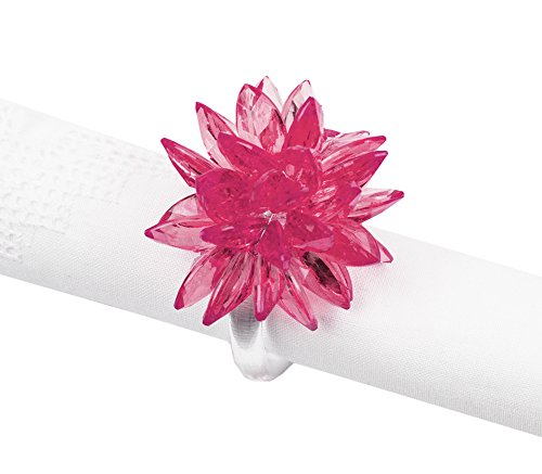 Fennco Styles Crystal Design Collection Napkin Ring - Set of 4 (Pink Crystal Flower) -