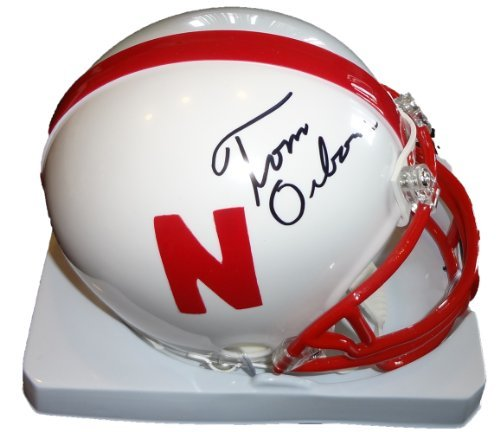 Tom Osbrone Autographed Nebraska Cornhuskers Mini Helmet W/PROOF, Pictures of Tom Signing For Us, 3x National Champions