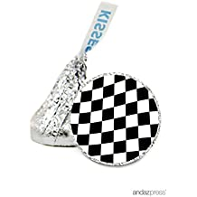Andaz Press Chocolate Drop Labels Stickers, Birthday, Race Car Checkers, 216-Pack, For Hershey's Kisses Party Favors, Gifts, Decorations