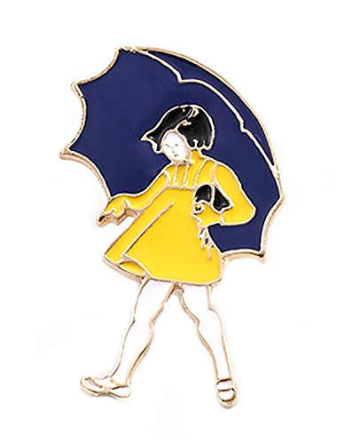Hand Painted Umbrellas (Silly Rice Morton Salt Girl Style Enamel Pin)