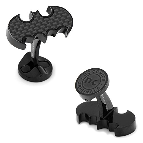 DC Comics Stainless Steel Carbon Fiber Batman Cufflinks, Officially Licensed by Cufflinks