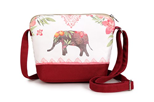 Junior Elephant - Crest Design Cute Canvas Crossbody Bag Shoulder Bag Purse for Girl and teenage (Maroon Elephant)
