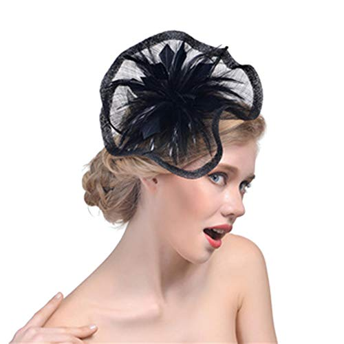 eroute66 Fascinators Hats for Womens 50s Headwear with Veil Flower Cocktail Wedding Tea Party Hat Black