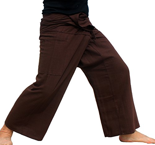 Raan Pah Muang Plain Thick Line Cotton Thai Fisherman Wrap Plus Tall Length Pants, XX-Large, Bistre ()