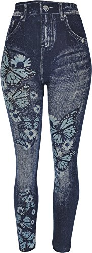 Hand By Hand Aprileo Women's Leggings Jeans Look Printed Stretch [06 Sparkle](One Size) ()
