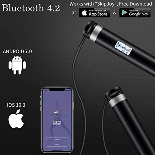 SMART JUMP ROPE W// APP DATA ANALYSIS USB RECHARGEABLE LED DISPLAY SKIPPING ROPE