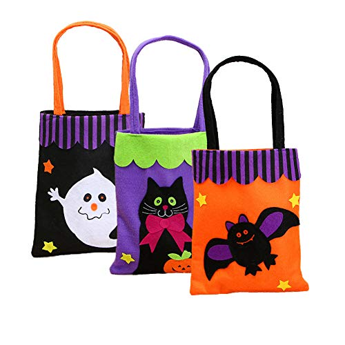 Yarssir Pack of 3 Halloween Ghost Bat Cat Felt Fabric Trick or Treat Gift Candy Bags for Kids (Felt Treat Bags)