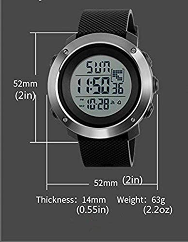 YEENIK Men's Digital Sports Hand Watch, Led 50M Waterproof Wrist Watch, Military Large Watches for Men with Alarm Stopwatch Dual Time Zone Count Down EL Backlight Calendar Date -Black