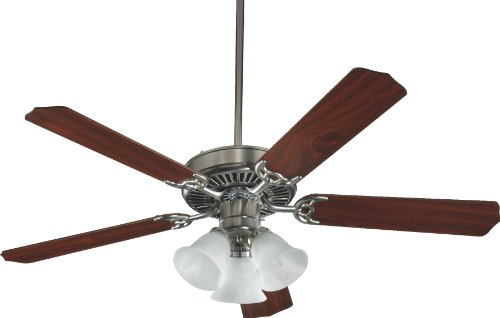 Quorum International 7752516652 Capri VI 52-Inch 3 Light Ceiling Fan, Satin Nickel Finish with Alabaster Glass Light Kit and Reversible Blades