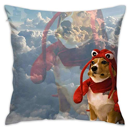 Biekxrso Dog in Lobster Costume Throw Pillow Covers Square Decorative Cushion Case Cover for Couch Sofa Bed 18