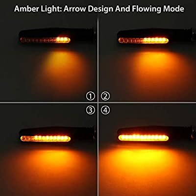 Justech 4pcs Universal Flowing Waterproof Motorcycle Motorbike LED Turn Signal Indicator Light (3 Colors Flowing): Automotive