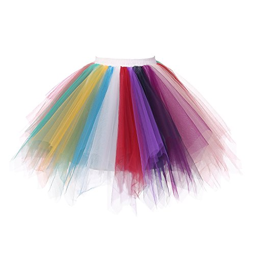URVIP Women's Vintage 1950s Tutu Multicolor Petticoat Ballet Bubble Dance Skirt White Red Purple Navy Plum Mint Yellow Blue L/XL (Plum Navy)