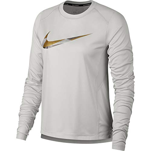 Nike Women's Miler Metallic Long-Sleeve Running Top VAST Grey/Atmosphere Grey M (Nike Miler Long Sleeve)