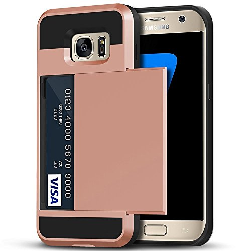 Price comparison product image Galaxy S7 Edge Case, Anuck Slidable ID Card Slot Holder Galaxy S7 Edge Wallet Case [Credit Card Pocket] Hard Shell Shockproof Rubber Bumper Protective Case Cover for Samsung Galaxy S7 Edge - Rose Gold