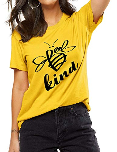 Be Kind Tshirt Women Short Sleeve T-Shirt Cute Bee Graphic Tee Casual Tops Size L (Yellow)