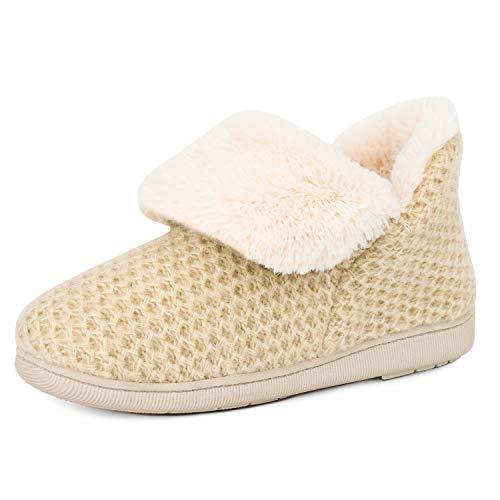 Women's Comfort Knit Bootie Slippers Soft Cozy Memory Foam Plush Faux Fur Lining Slip on Boots Shoes