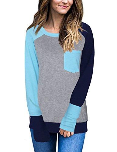 Naier Women T Shirt Top Long Sleeve Color Splicing For Leggings Jeans (S, Light Blue)
