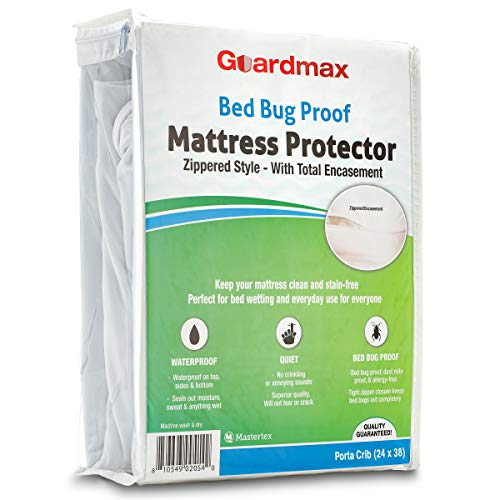 Guardmax Portable Crib Mattress Protector Zippered Encasement Cover Bed bug Proof Waterproof, Hypoallergenic and Noiseless, Mini Baby Porta Crib Size (24 x 38)