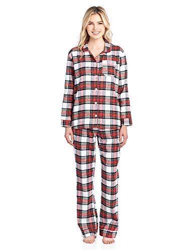 Ashford & Brooks Women's Flannel Plaid Pajamas Long Sleeve Button Down Pj Set, Dress Stewart, Small