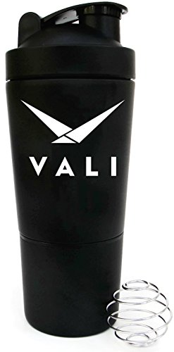 VALI Stainless Steel Shaker with Built-In Mixing Lid and Mixer Ball, 700ml (24 oz)